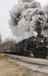 Photo of steam engine train on the move